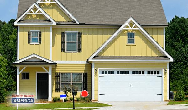 Garage Door on Yellow House